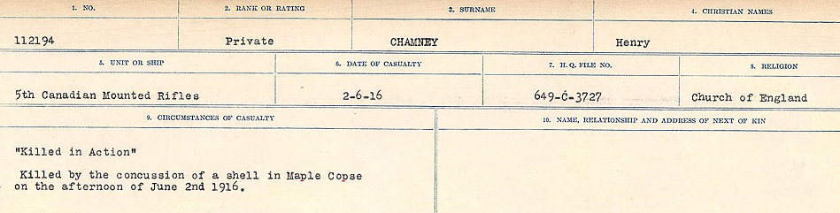 Circumstances of Death Registers– Source: Library and Archives Canada.  CIRCUMSTANCES OF DEATH REGISTERS, FIRST WORLD WAR Surnames:  CATCHPOLE TO CHIGNELL. Microform Sequence 19; Volume Number 31829_B016728. Reference RG150, 1992-93/314, 165. Page 383 of 958.