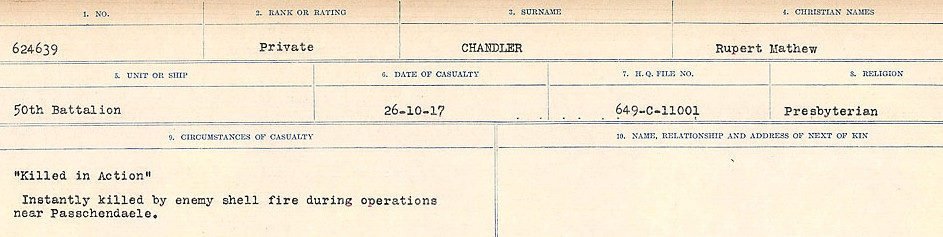 Circumstances of Death Registers– Source: Library and Archives Canada.  CIRCUMSTANCES OF DEATH REGISTERS, FIRST WORLD WAR Surnames:  CATCHPOLE TO CHIGNELL. Microform Sequence 19; Volume Number 31829_B016728. Reference RG150, 1992-93/314, 165. Page 429 of 958.