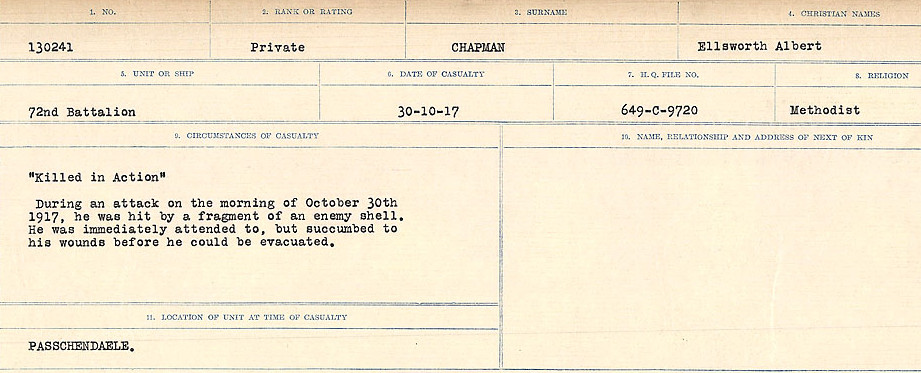 Circumstances of Death Registers– Source: Library and Archives Canada.  CIRCUMSTANCES OF DEATH REGISTERS, FIRST WORLD WAR Surnames:  CATCHPOLE TO CHIGNELL. Microform Sequence 19; Volume Number 31829_B016728. Reference RG150, 1992-93/314, 165. Page 517 of 958.