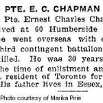 Press Clipping– Pte. Ernest Charles Chapman enlisted in Toronto on July 22nd, 1915.