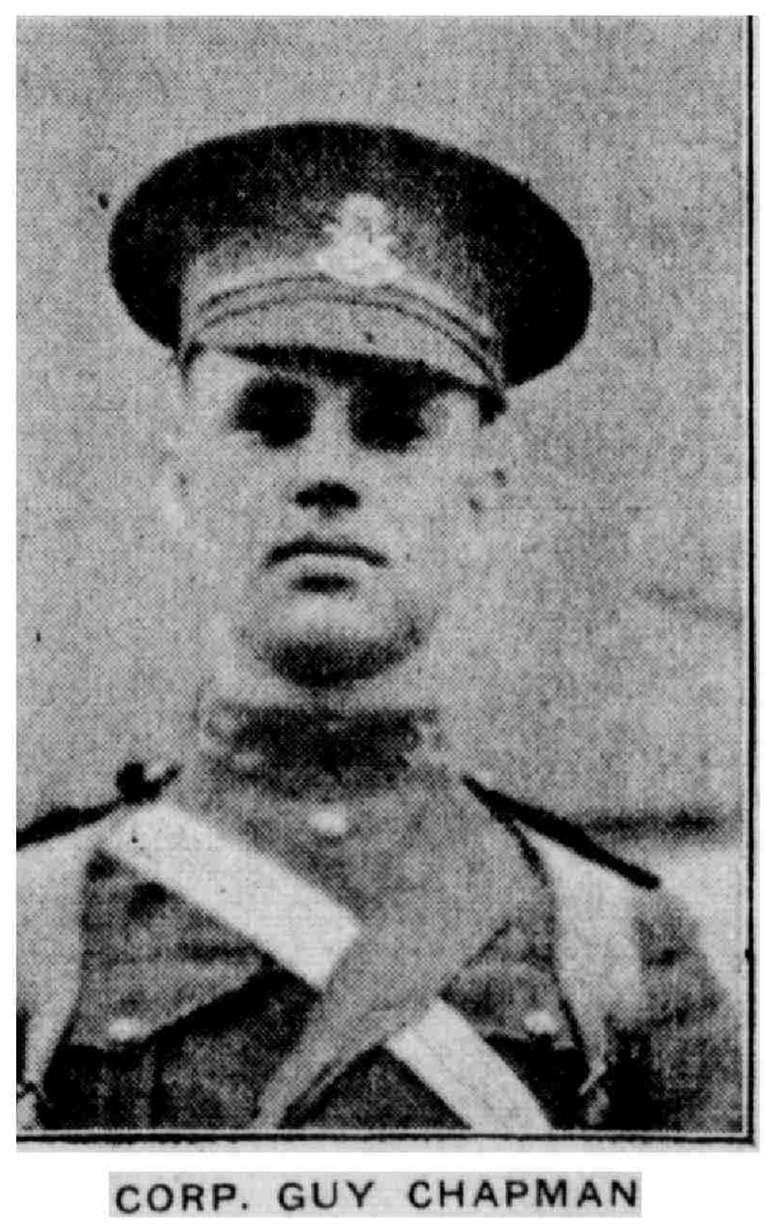 Newspaper Clipping– Photograph of Cpl Guy Chapman published in the Brandon Daily Sun (17 May 1915). (Source: manitobia.ca)
