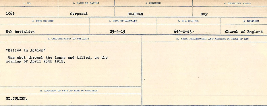 Circumstances of Death Registers– Source: Library and Archives Canada.  CIRCUMSTANCES OF DEATH REGISTERS, FIRST WORLD WAR Surnames:  CATCHPOLE TO CHIGNELL. Microform Sequence 19; Volume Number 31829_B016728. Reference RG150, 1992-93/314, 165. Page 553 of 958.