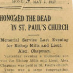 Newspaper Clipping– Newspaper clipping from 1917