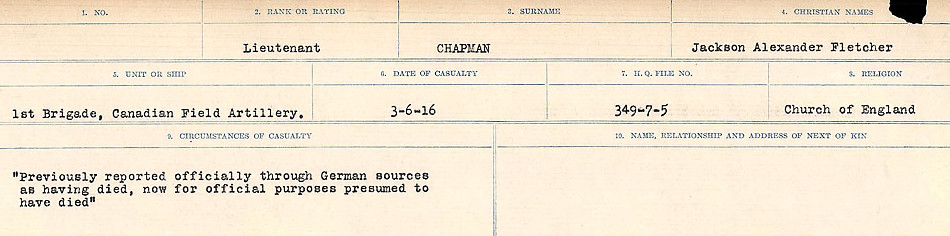 Circumstances of Death Registers– Source: Library and Archives Canada.  CIRCUMSTANCES OF DEATH REGISTERS, FIRST WORLD WAR Surnames:  CATCHPOLE TO CHIGNELL. Microform Sequence 19; Volume Number 31829_B016728. Reference RG150, 1992-93/314, 165. Page 569 of 958.