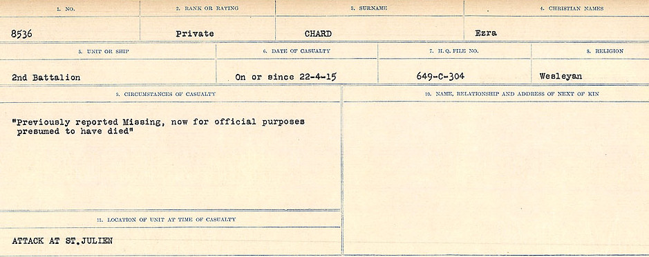 Circumstances of Death Registers– Source: Library and Archives Canada.  CIRCUMSTANCES OF DEATH REGISTERS, FIRST WORLD WAR Surnames:  CATCHPOLE TO CHIGNELL. Microform Sequence 19; Volume Number 31829_B016728. Reference RG150, 1992-93/314, 165. Page 673 of 958.