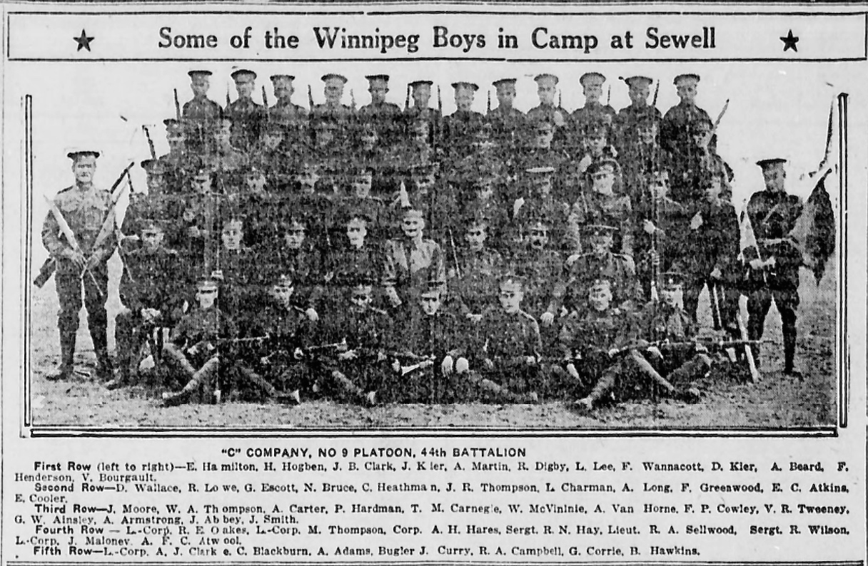 Newspaper clipping– 2nd row from top. In memory of the men and women memorialized on the pages of the Winnipeg Evening Tribune during World War One. Submitted for the project, Operation: Picture Me.