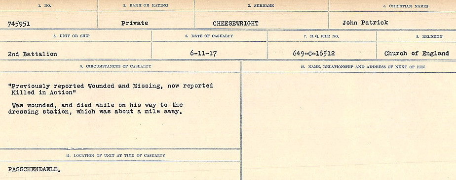 Circumstances of Death Registers– Source: Library and Archives Canada.  CIRCUMSTANCES OF DEATH REGISTERS, FIRST WORLD WAR Surnames:  Catchpole to Chignell. Microform Sequence 19; Volume Number 31829_B016728. Reference RG150, 1992-93/314, 165. Page 835 of 958.