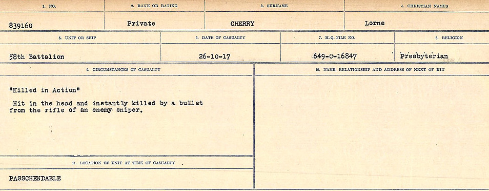 Circumstances of Death Registers– Source: Library and Archives Canada.  CIRCUMSTANCES OF DEATH REGISTERS, FIRST WORLD WAR Surnames:  Catchpole to Chignell. Microform Sequence 19; Volume Number 31829_B016728. Reference RG150, 1992-93/314, 165. Page 891 of 958.