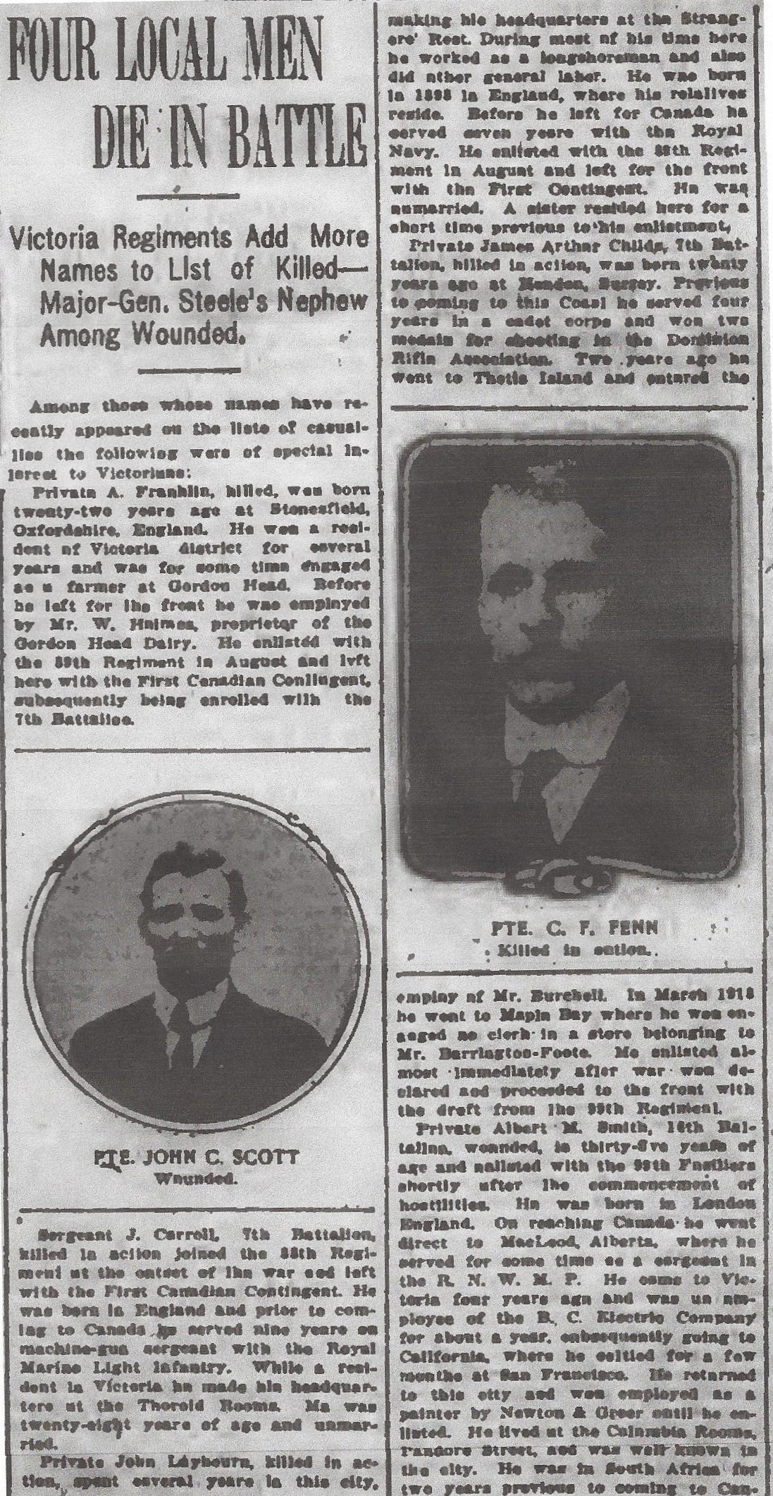 Newspaper clipping– From the Daily Colonist of May 14, 1915. Image taken from web address of https://archive.org/stream/dailycolonist57y133uvic#mode/1up