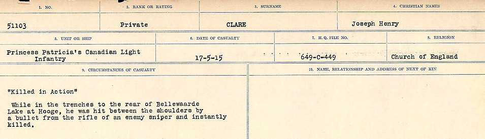 Circumstances of Death Registers– Source: Library and Archives Canada.  CIRCUMSTANCES OF DEATH REGISTERS, FIRST WORLD WAR Surnames:  CHILD TO CLAYTON.  Microform Sequence 20; Volume Number 31829_B016729. Reference RG150, 1992-93/314, 164.  Page of 427 of 1068.