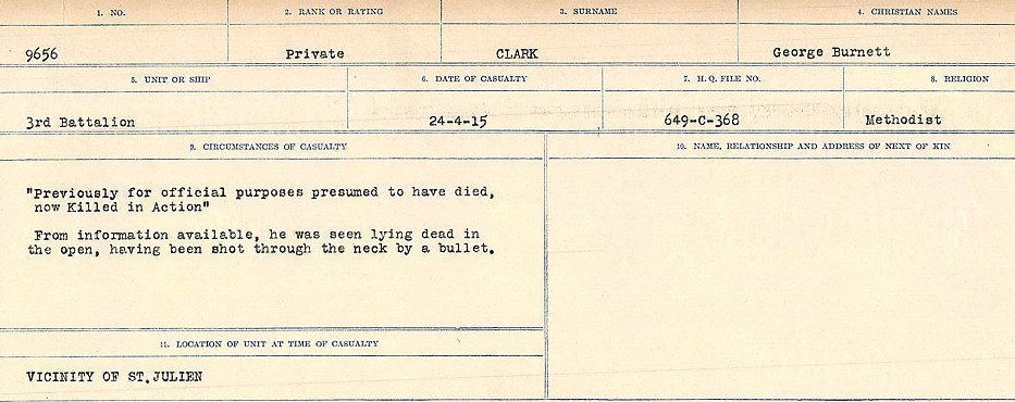 Circumstances of Death Registers– Source: Library and Archives Canada.  CIRCUMSTANCES OF DEATH REGISTERS, FIRST WORLD WAR Surnames:  CHILD TO CLAYTON.  Microform Sequence 20; Volume Number 31829_B016729. Reference RG150, 1992-93/314, 164.  Page of 571 of 1068.