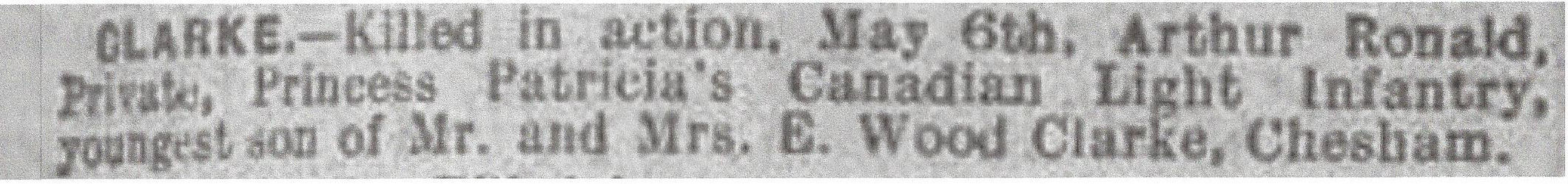 Newspaper Clipping– Newspaper clipping from Daily Telegraph of May 17, 1915. Image taken from web address of http://www.telegraph.co.uk/news/ww1-archive/11600384/Daily-Telegraph-May-17-1915.html