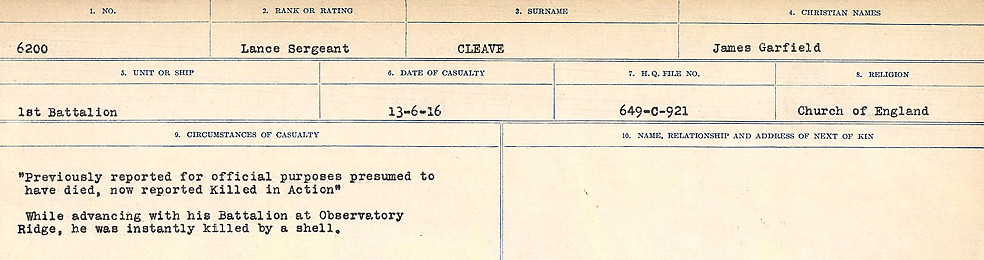 Photo of JAMES GARFIELD CLEAVE– Source: Library and Archives Canada.  CIRCUMSTANCES OF DEATH REGISTERS, FIRST WORLD WAR Surnames:  CLEAL TO CONNOLLY.  Microform Sequence 21; Volume Number 31829_B016730. Reference RG150, 1992-93/314, 165.  Page 19 of 1384.