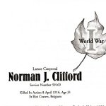 Memorial Page– Norman Clifford is honoured on page 30 of the Gananoque Remembers booklet, published on January 31, 2005.