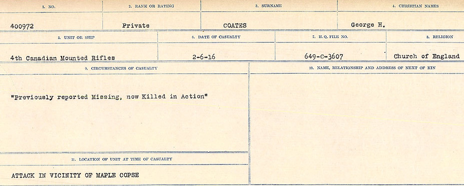 Circumstances of Death Registers– Source: Library and Archives Canada.  CIRCUMSTANCES OF DEATH REGISTERS, FIRST WORLD WAR Surnames:  CLEAL TO CONNOLLY.  Microform Sequence 21; Volume Number 31829_B016730. Reference RG150, 1992-93/314, 165.  Page 345 of 1384.