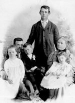 Family Photo #2– Left to right.  Front row:  Frances, Charles, Edith Collyer;back row:  Charles Ralph (father), Harold (uncle) and Fanny (great-aunt) Collyer,August 4, 1897, Moosomin NWTSource: N. Hockin
