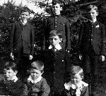 Charles and his brothers– Charles and his brothers, London Ontario, 1908.  Left to right.  Back row:  Cyril, Charles, Ralph.  Front row:  Eric, Percy, Ernie, Gerald.  Cyril, Charles, Ralph, Ernie and their eldest sister Frances enlisted in the Canadian Expeditionary Force.