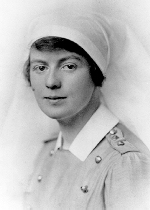 """Frances Collyer, Sister of Charles Collyer– Nursing Sister Lt. Frances Collyer, RN.  Enlisted in the No. 10 Canadian Stationary Hospital, CEF, in London, ON on May 23, 1916 and appointed to commissioned rank in the Canadian Army Medical Corps.  Arrived in England July 5, 1916, a month after her brother Charles' death at Sanctuary Wood.  Served in England and France, including Folkestone and Le Tréport.  (Certificate of Service notes """"Westcliffe, Eye and Ear Hospital, Ont. Military Hospital, Orpington, CAMC Cas. Coy. Shorncliffe."""")  Demobilized June 20, 1919.  Portrait by Swaine, London, England."""