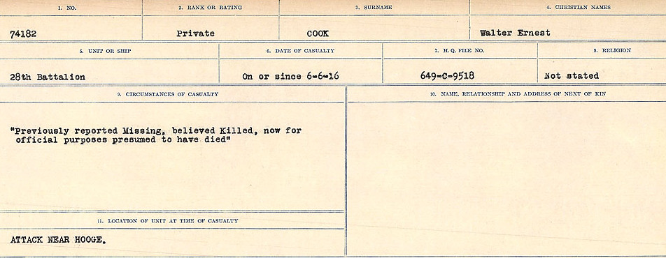 Circumstances of Death Registers– Source: Library and Archives Canada.  CIRCUMSTANCES OF DEATH REGISTERS, FIRST WORLD WAR Surnames:  CONNON TO CORBETT.  Microform Sequence 22; Volume Number 31829_B016731. Reference RG150, 1992-93/314, 166.  Page 325 of 818.