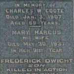 Coote family memorial– Pte. Frederick Dwight Coote is remembered on the Coote family memorial in Oakville/St. Mary Pioneer Cemetery, Lyons Lane at South Service Road, Oakville, Ontario.