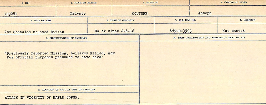 Circumstances of Death Registry– Source: Library and Archives Canada.  CIRCUMSTANCES OF DEATH REGISTERS, FIRST WORLD WAR Surnames:  CORBI to COZNI.  Microform Sequence 23; Volume Number 31829_B016732. Reference RG150, 1992-93/314, 167.  Page 613 of 900.