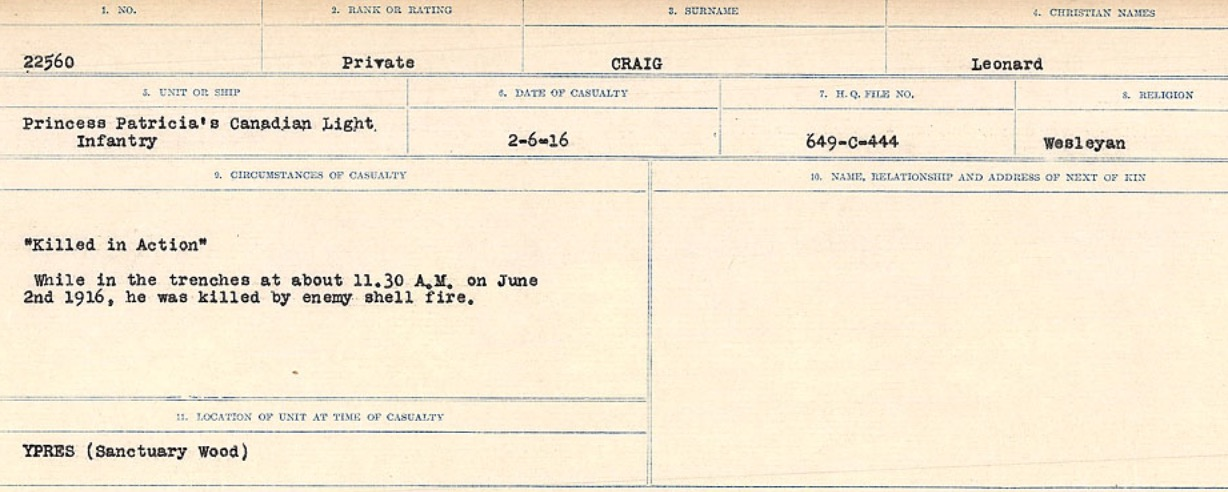 Circumstances of Death Registers– Source: Library and Archives Canada. CIRCUMSTANCES OF DEATH REGISTERS, FIRST WORLD WAR Surnames: CRABB TO CROSSLAND Microform Sequence 24; Volume Number 31829_B016733. Reference RG150, 1992-93/314, 168. Page 111 of 788.