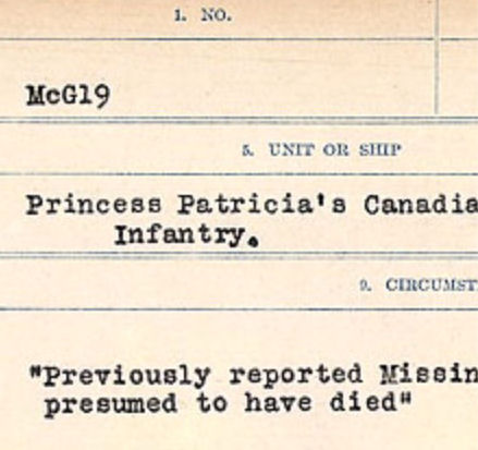 Circumstances of death registers– Source: Library and Archives Canada. CIRCUMSTANCES OF DEATH REGISTERS, FIRST WORLD WAR Surnames: CRABB TO CROSSLAND Microform Sequence 24; Volume Number 31829_B016733. Reference RG150, 1992-93/314, 168. Page 507 of 788.