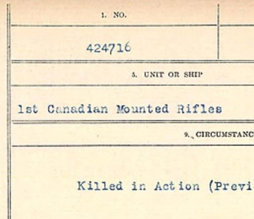 Circumstances of death registers– Source: Library and Archives Canada. CIRCUMSTANCES OF DEATH REGISTERS, FIRST WORLD WAR Surnames: Crossley to Cyrs. Microform Sequence 25; Volume Number 31829_B016734. Reference RG150, 1992-93/314, 169. Page 85 of 890.