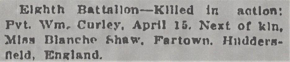 Newspaper clipping– From the Daily Colonist of April 23, 1915. Image taken from web address of https://archive.org/stream/dailycolonist57y115uvic#mode/1up