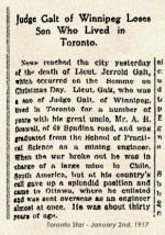 Newspaper Clipping– Lt. Gerald Galt enlisted in Ottawa on June 21 1916.