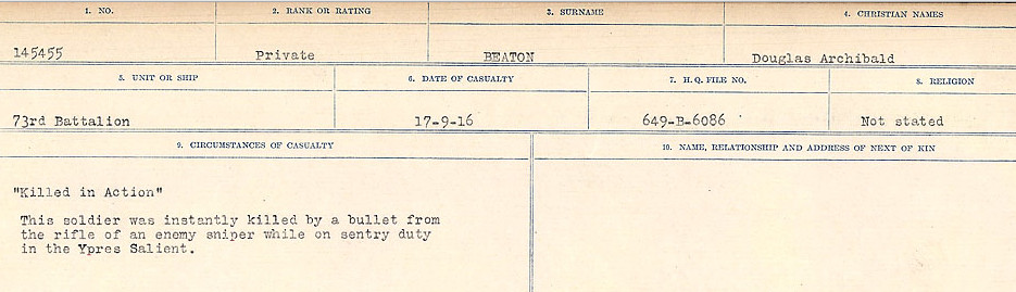 Circumstances of Death– Source: Library and Archives Canada.  CIRCUMSTANCES OF DEATH REGISTERS FIRST WORLD WAR Surnames:  Bea to Belisle. Mircoform Sequence 7; Volume Number 31829_B016717. Reference RG150, 1992-93/314, 151.  Page 161 of 724.