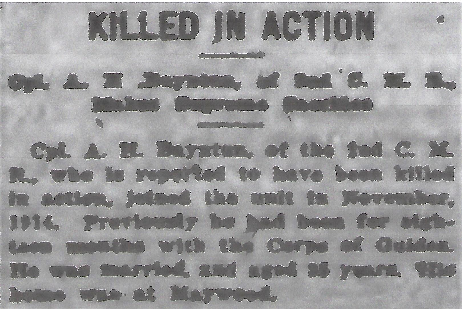 Newspaper clipping– From the Daily Colonist of April 4, 1916. Image taken from web address of