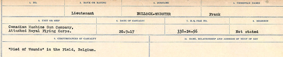 Circumstances of Death Registers– Source: Library and Archives Canada.  CIRCUMSTANCES OF DEATH REGISTERS FIRST WORLD WAR Surnames: Brubacher to Bunyan. Mircoform Sequence 15; Volume Number 31829_B016724; Reference RG150, 1992-93/314, 159 Page 573 of 668