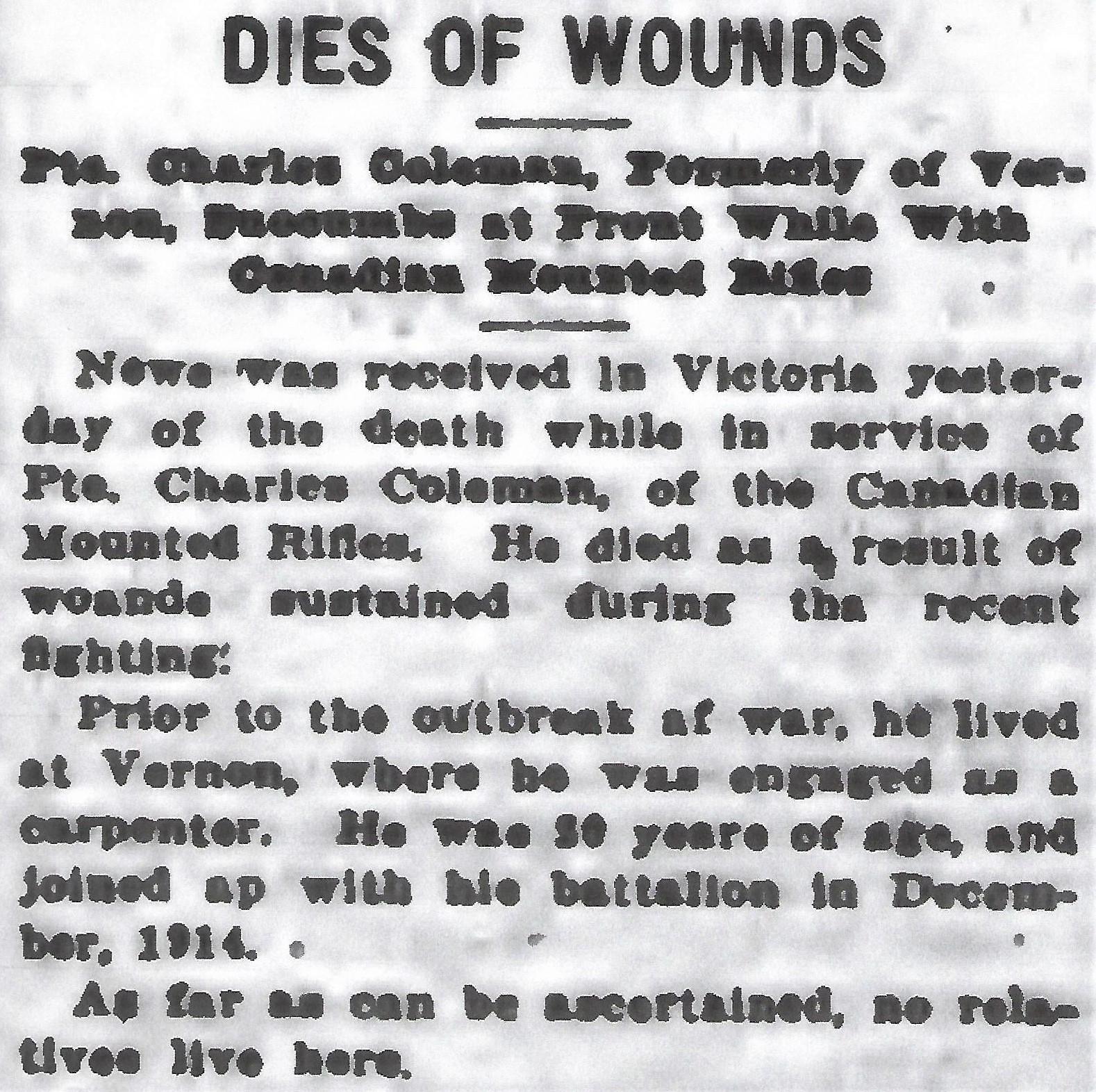 Newspaper clipping– From the Daily Colonist of April 16, 1916