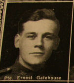 Photo of Ernest Gatehouse– In memory of the men and women from the Waterloo area who went to war and did not come home. From the booklet, Peace Souvenir – Activities of Waterloo County in the Great War 1914 – 1918. From the Toronto Public Library collection.