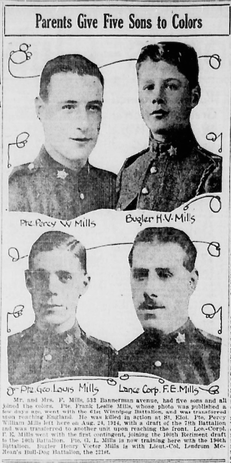 Newspaper clipping– Frank mentioned in article. In memory of the men and women memorialized on the pages of the Winnipeg Evening Tribune during World War One. Submitted for the project, Operation: Picture Me.