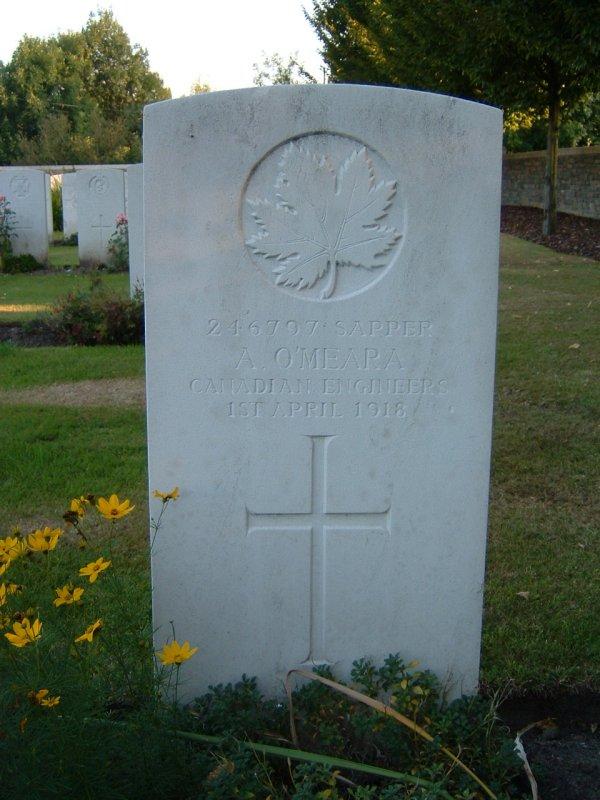 Grave marker of Albert O'Meara