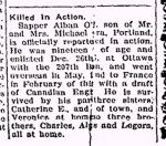 Newspaper Clipping– From the Perth Courier for 19 April 1918.