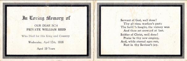 Memorial Card– Copy of William's Memorial card.