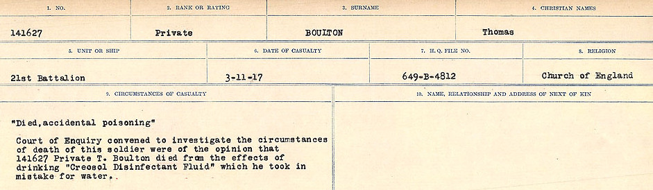 Circumstances of Death Registers– Source: Library and Archives Canada.  CIRCUMSTANCES OF DEATH REGISTERS FIRST WORLD WAR Surnames: Border to Boys. Mircoform Sequence 12; Volume Number 131829_B016721; Reference RG150, 1992-93/314, 156 Page 289 of 934