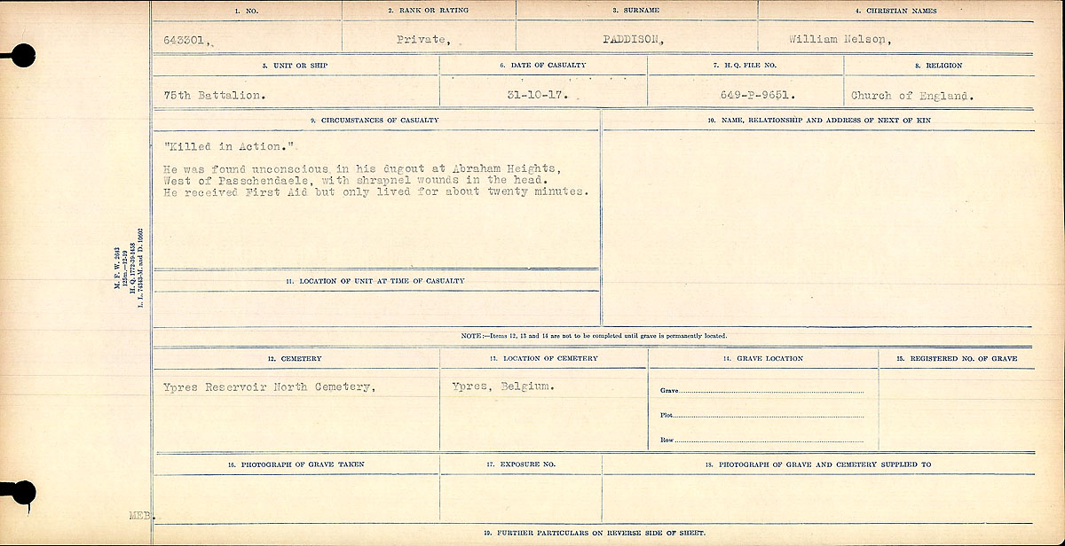 Circumstances of Death Registers– Circumstances of Death- Private William Nelson Paddison