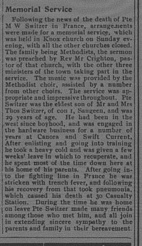 Newspaper Clipping– This item comes from the Paisley Advocate, March 28, 1917.