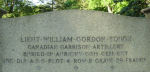 Inscription– Additional inscription on the Tough family memorial in Toronto provides details of Lieut. William Gordon Tough's burial location in France.