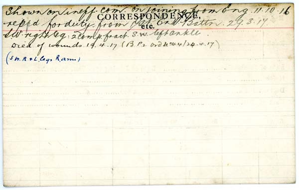 Record of Service– Record of Service Card (reverse side).  Courtesy 48th Highlanders of Canada Regimental Museum.  Submitted by 15th bn Memorial Project Team.  DILEAS GU BRATH