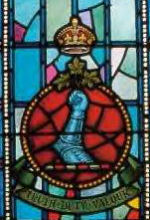 Memorial– Ex-cadets are named on the Memorial Arch at the Royal Military College of Canada in Kingston, Ontario and in memorial stained glass windows to fallen comrades.