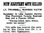 Press clipping– Article appearing in the Evening Telegram (Toronto) on April 22nd, 1915.