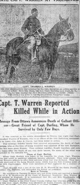 Newspaper Clipping– Capt T. Warren.  Submitted by 15th Bn Memorial Project Team.  DILEAS GU BRATH
