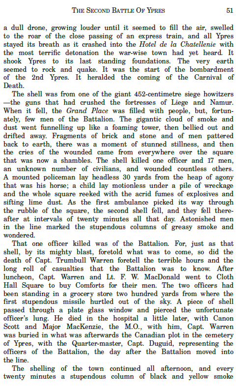 Document– Passage from the Regimental History of the the 48th Highlanders of Canada describing the death of Captain Trumbull Warren.